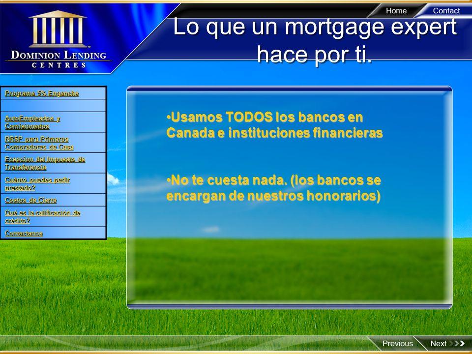 Lo que un mortgage expert hace por ti.