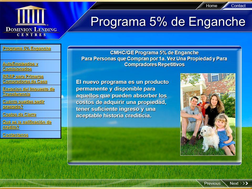CMHC/GE Programa 5% de Enganche
