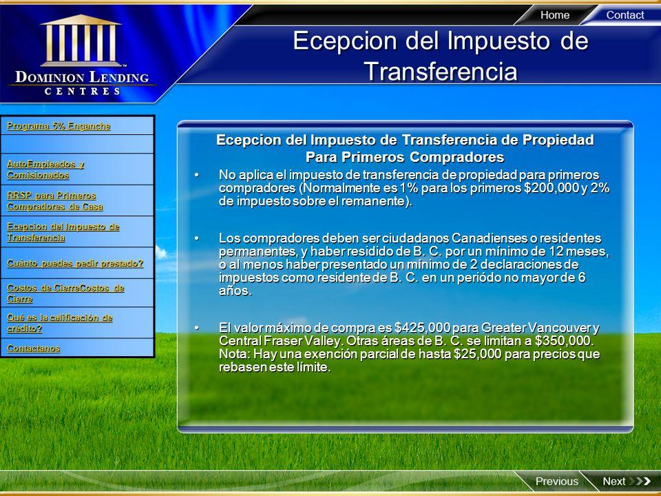 Ecepcion del Impuesto de Transferencia