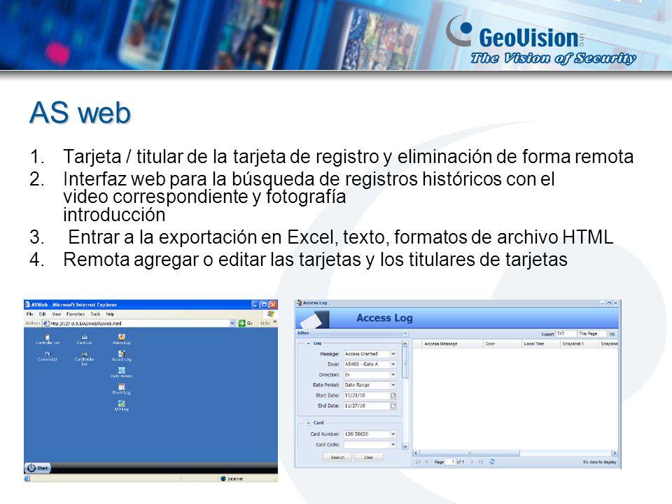 AS web Tarjeta / titular de la tarjeta de registro y eliminación de forma remota.