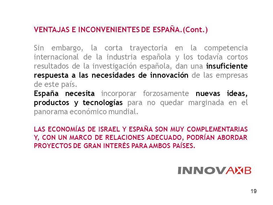 VENTAJAS E INCONVENIENTES DE ESPAÑA.(Cont.)