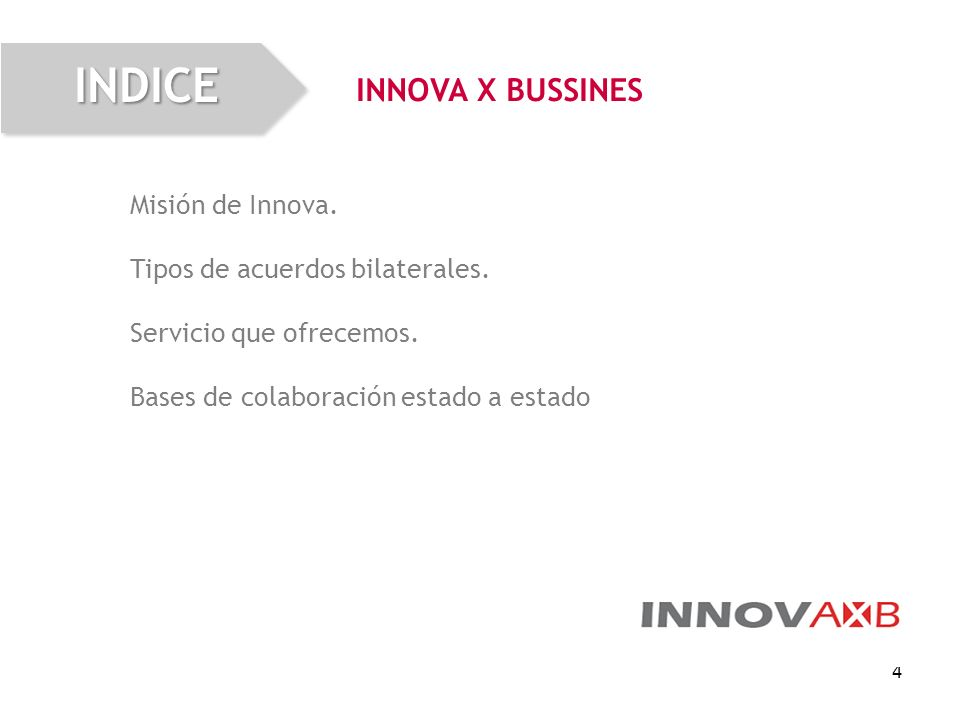 INDICE INNOVA X BUSSINES Misión de Innova.