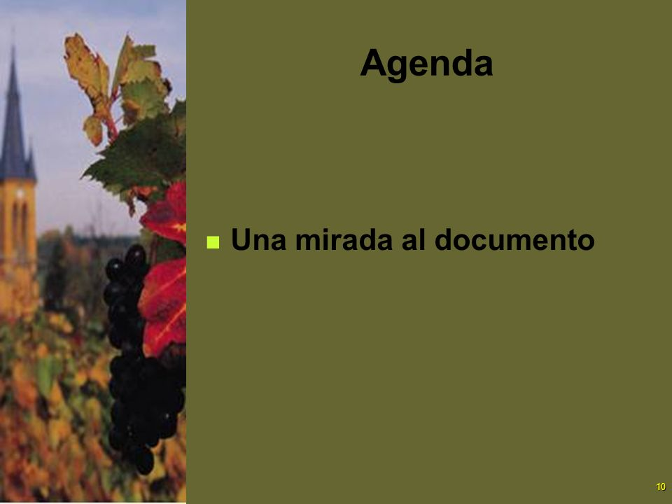 Agenda Una mirada al documento