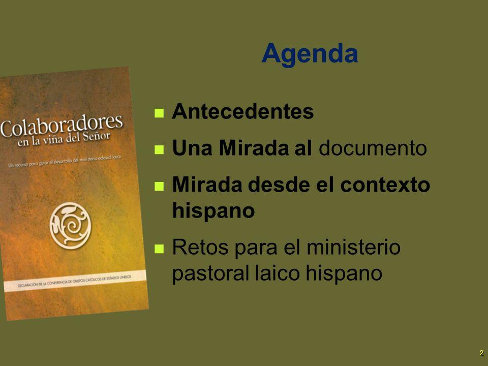 Agenda Antecedentes Una Mirada al documento