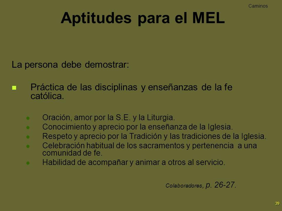 Aptitudes para el MEL La persona debe demostrar:
