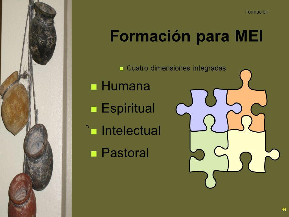 Formación para MEl Humana Espiritual Intelectual Pastoral