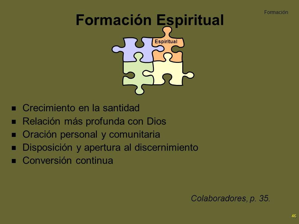 Formación Espiritual Crecimiento en la santidad