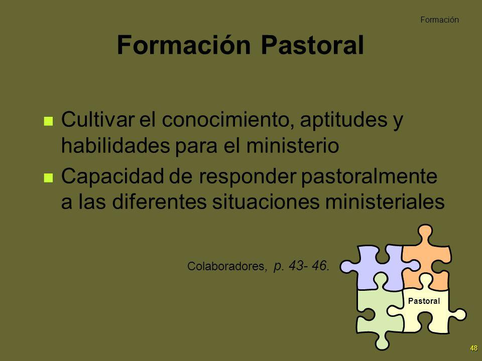 Formación Pastoral Formación. Cultivar el conocimiento, aptitudes y habilidades para el ministerio.