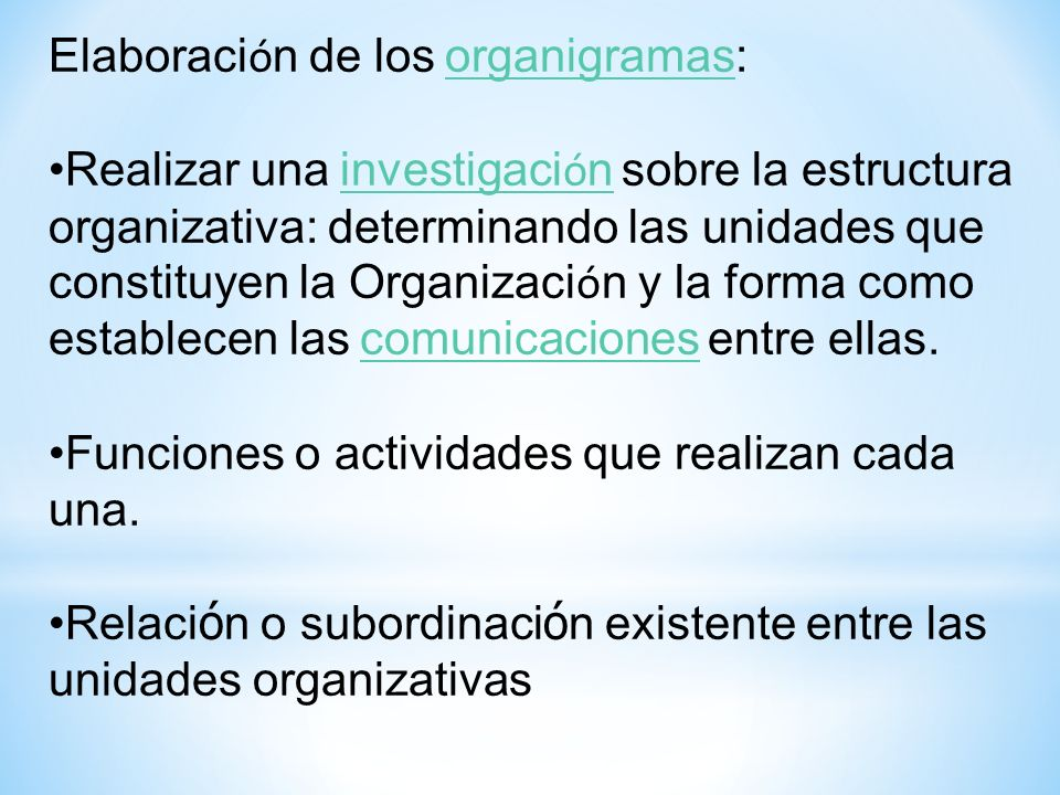 Elaboración de los organigramas: