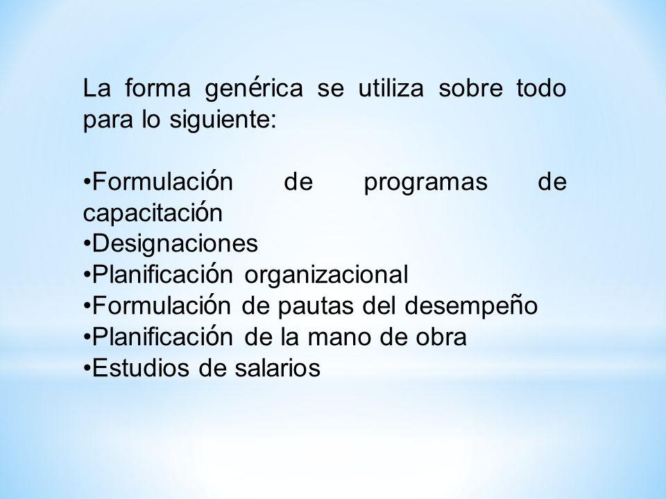 La forma genérica se utiliza sobre todo para lo siguiente: