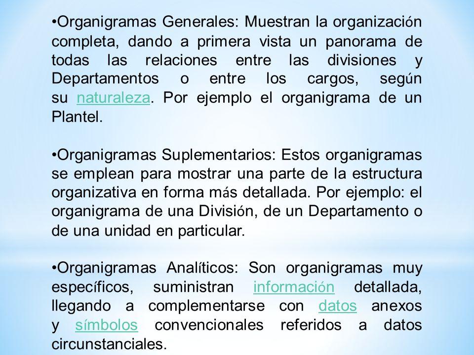 Organigramas Generales: Muestran la organización completa, dando a primera vista un panorama de todas las relaciones entre las divisiones y Departamentos o entre los cargos, según su naturaleza. Por ejemplo el organigrama de un Plantel.
