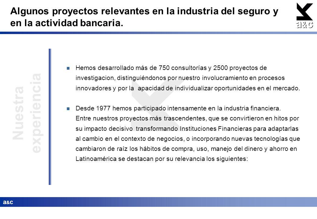 Algunos proyectos relevantes en la industria del seguro y en la actividad bancaria.