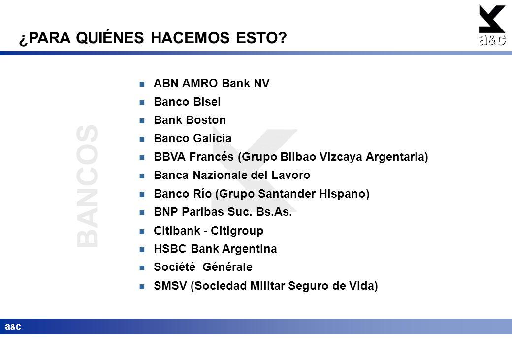 BANCOS ¿PARA QUIÉNES HACEMOS ESTO ABN AMRO Bank NV Banco Bisel