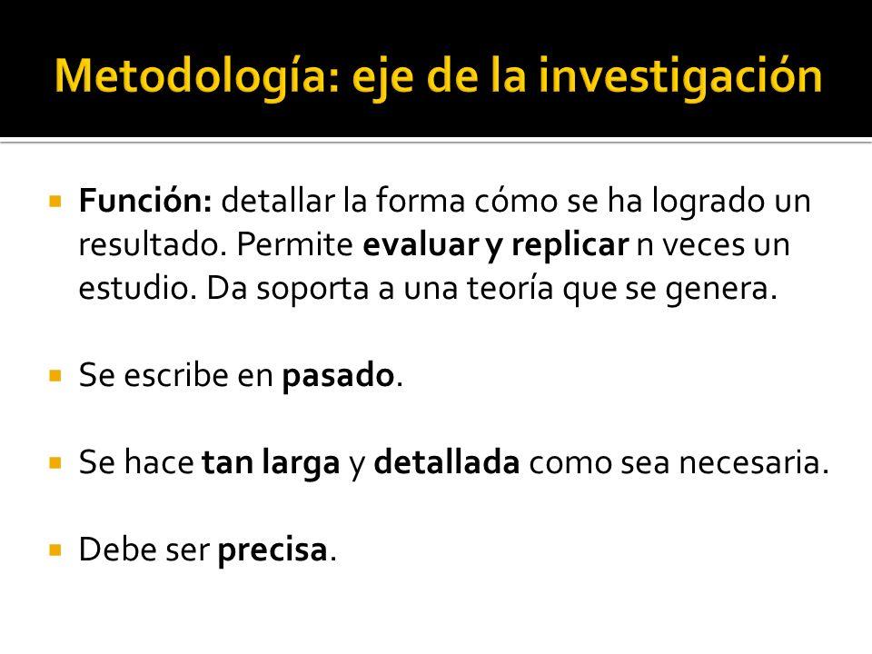 Metodología: eje de la investigación