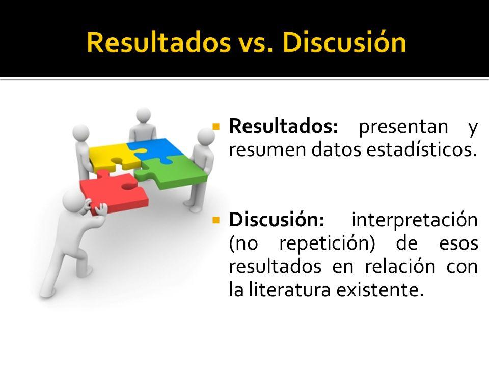 Resultados vs. Discusión