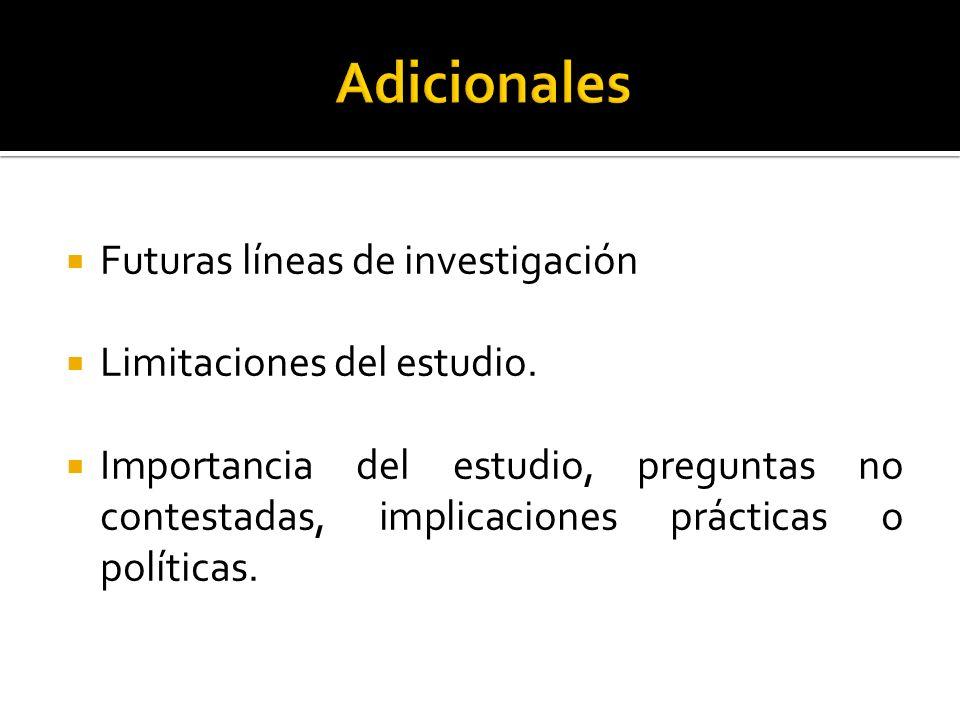 Adicionales Futuras líneas de investigación Limitaciones del estudio.