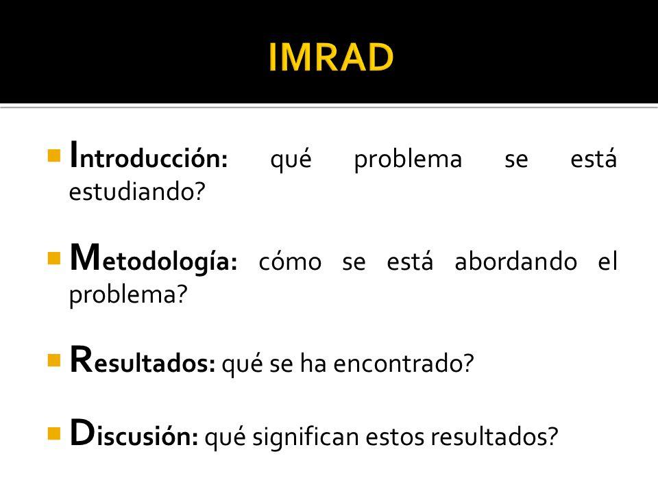 IMRAD Introducción: qué problema se está estudiando