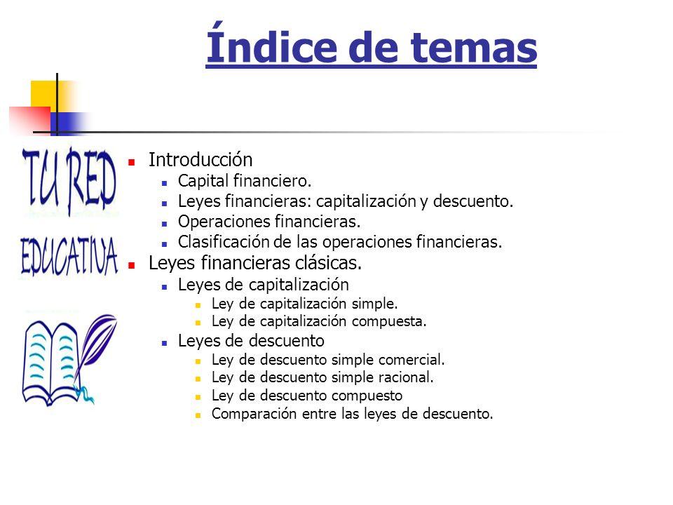 Índice de temas Introducción Leyes financieras clásicas.