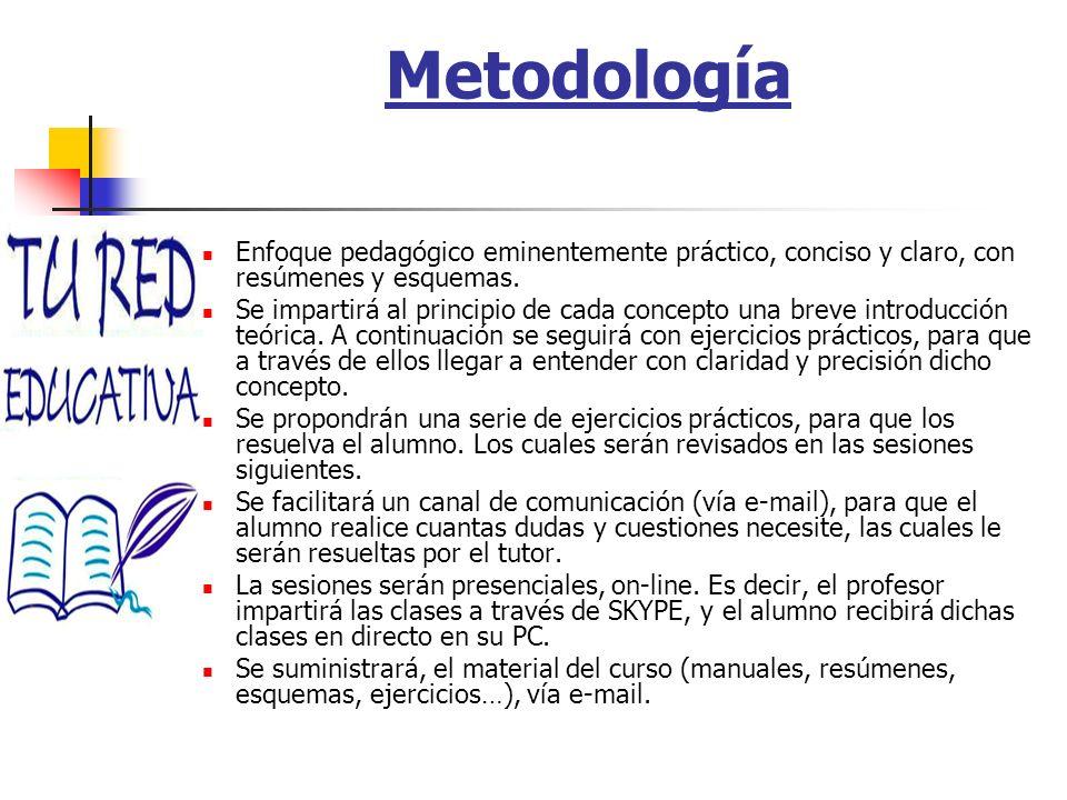 Metodología Enfoque pedagógico eminentemente práctico, conciso y claro, con resúmenes y esquemas.