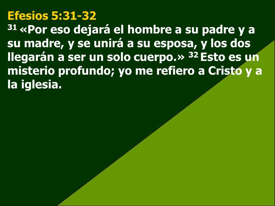 Efesios 5:31-32 31 «Por eso dejará el hombre a su padre y a su madre, y se unirá a su esposa, y los dos llegarán a ser un solo cuerpo.» 32 Esto es un misterio profundo; yo me refiero a Cristo y a la iglesia.
