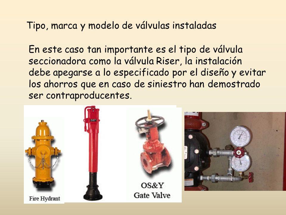 Tipo, marca y modelo de válvulas instaladas
