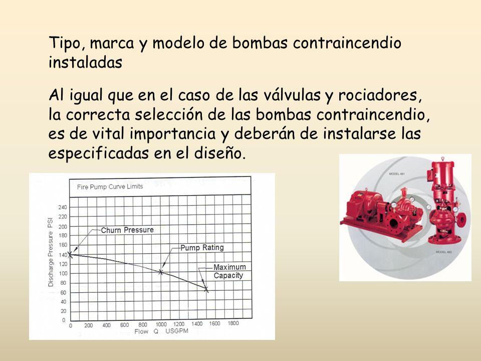 Tipo, marca y modelo de bombas contraincendio