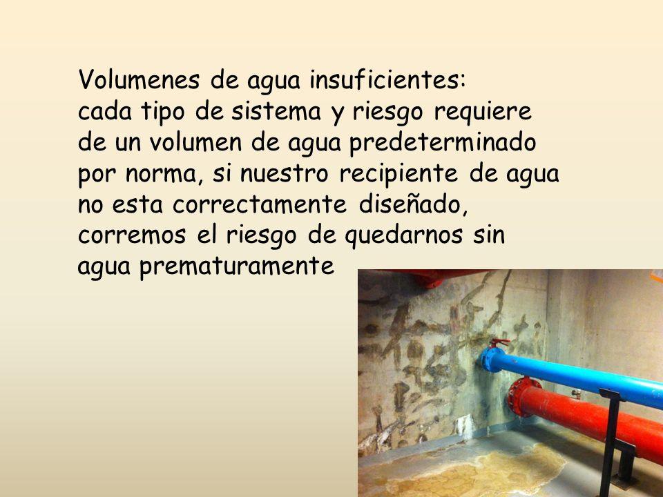 Volumenes de agua insuficientes: