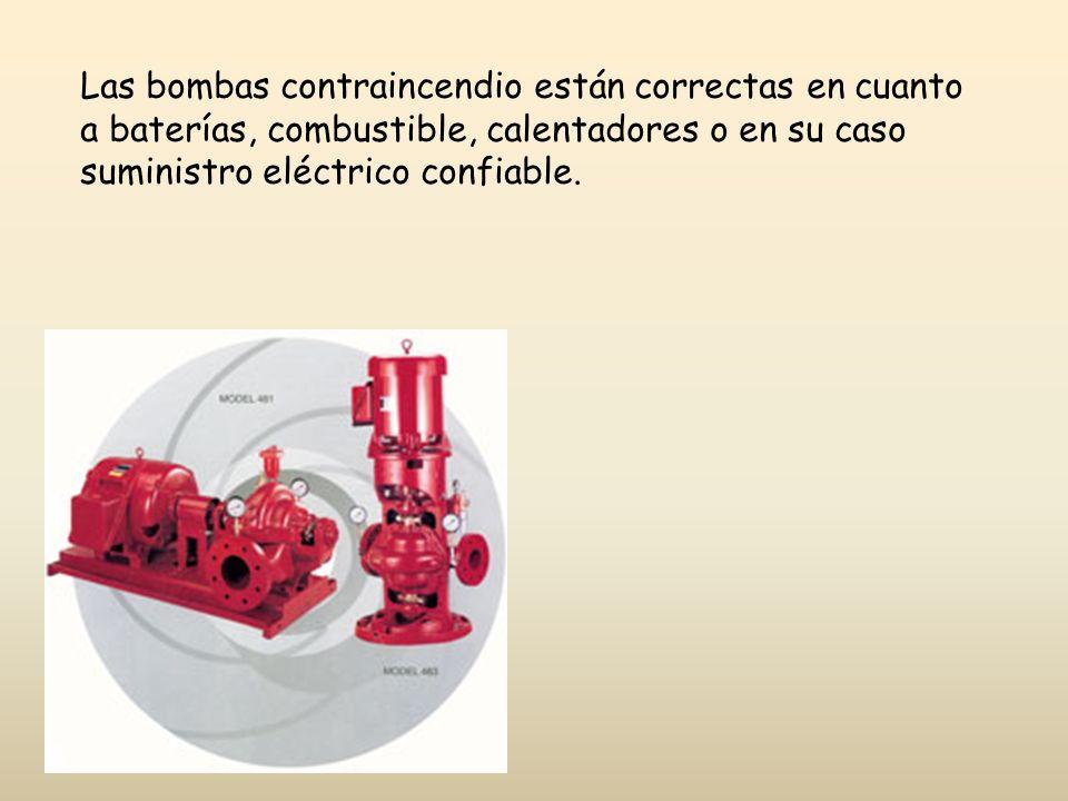 Las bombas contraincendio están correctas en cuanto