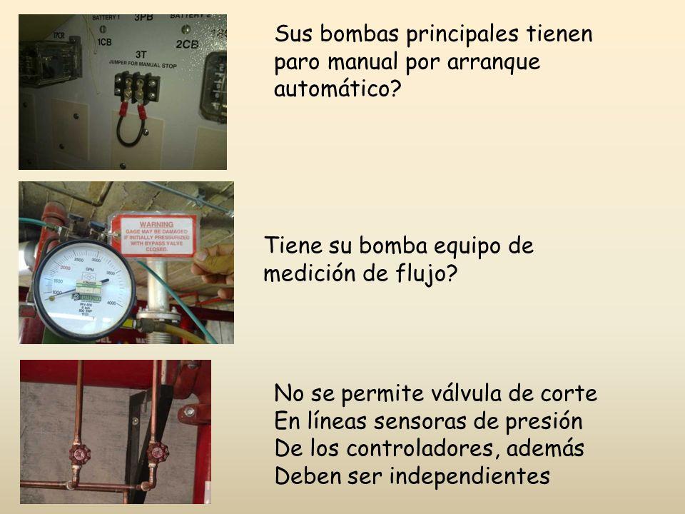 Sus bombas principales tienen paro manual por arranque automático