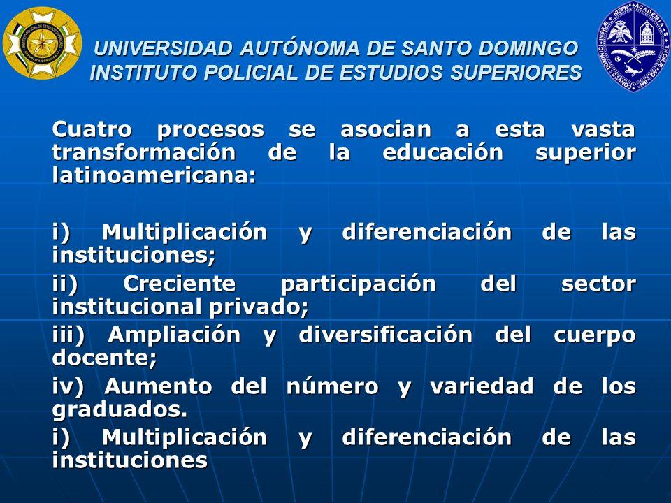 i) Multiplicación y diferenciación de las instituciones;