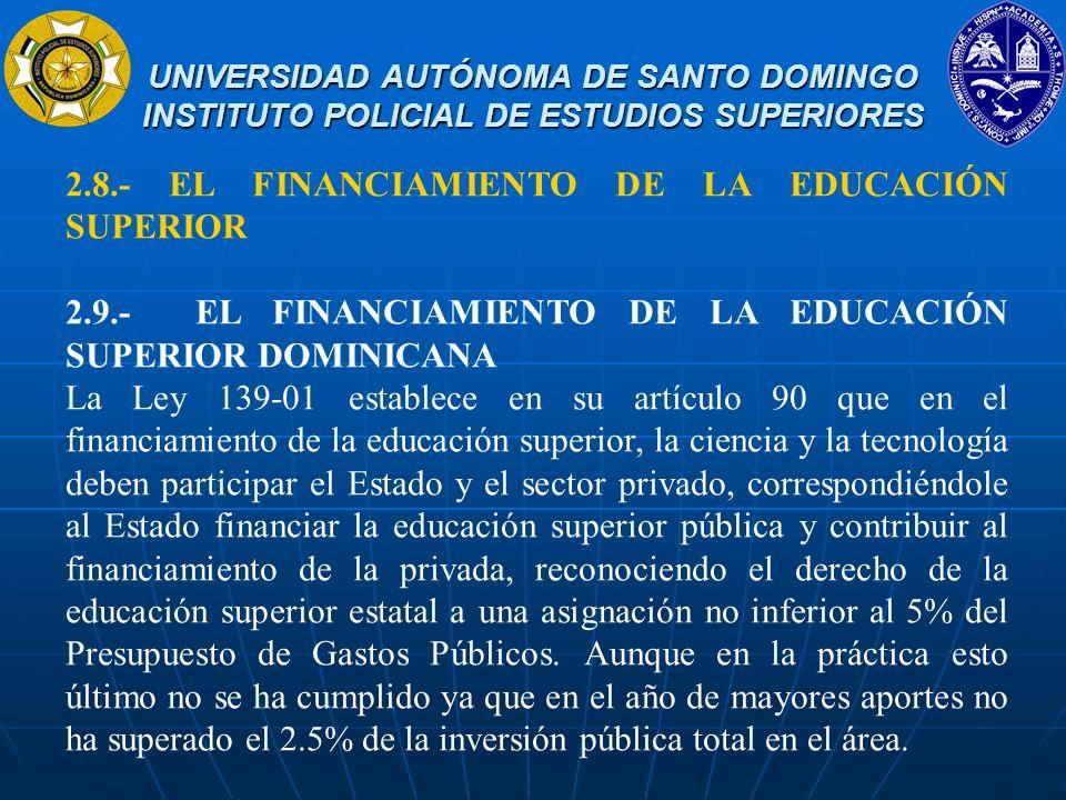 2.8.- EL FINANCIAMIENTO DE LA EDUCACIÓN SUPERIOR