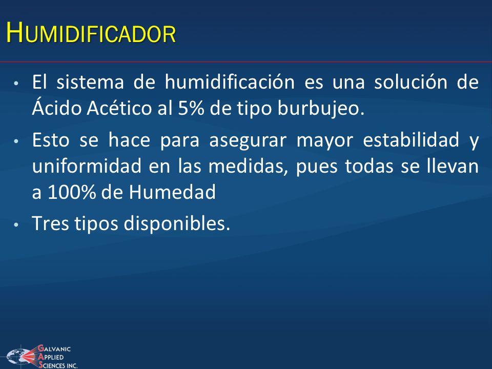 Humidificador El sistema de humidificación es una solución de Ácido Acético al 5% de tipo burbujeo.