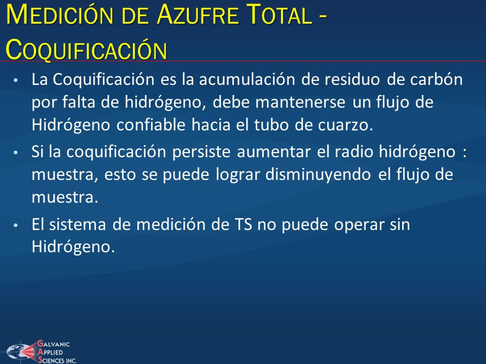 Medición de Azufre Total - Coquificación