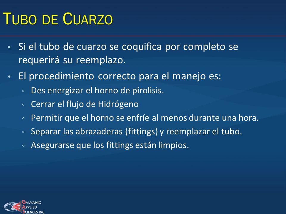 Tubo de Cuarzo Si el tubo de cuarzo se coquifica por completo se requerirá su reemplazo. El procedimiento correcto para el manejo es: