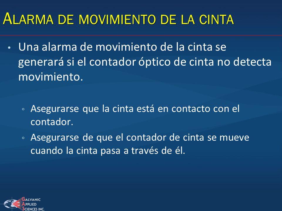 Alarma de movimiento de la cinta