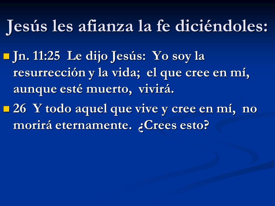 Jesús les afianza la fe diciéndoles: