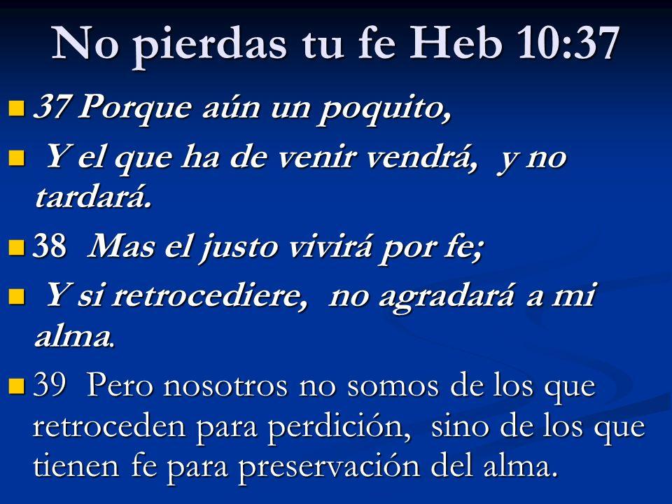 No pierdas tu fe Heb 10:37 37 Porque aún un poquito,