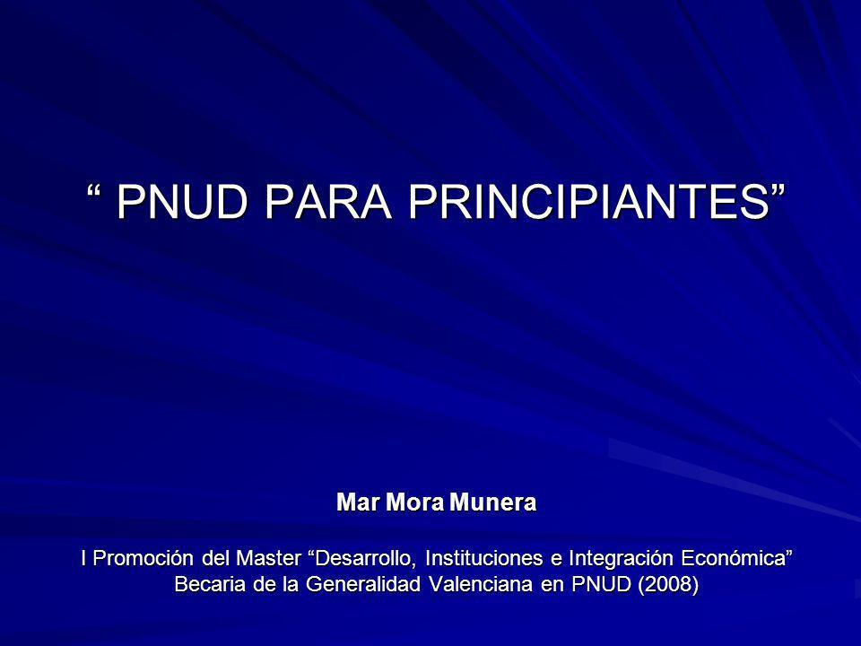 PNUD PARA PRINCIPIANTES Mar Mora Munera I Promoción del Master Desarrollo, Instituciones e Integración Económica Becaria de la Generalidad Valenciana en PNUD (2008)