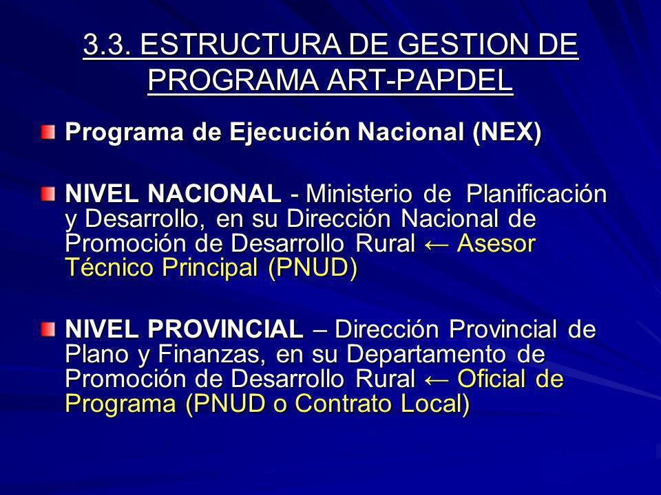 3.3. ESTRUCTURA DE GESTION DE PROGRAMA ART-PAPDEL