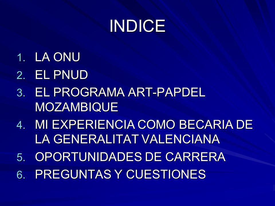 INDICE LA ONU EL PNUD EL PROGRAMA ART-PAPDEL MOZAMBIQUE