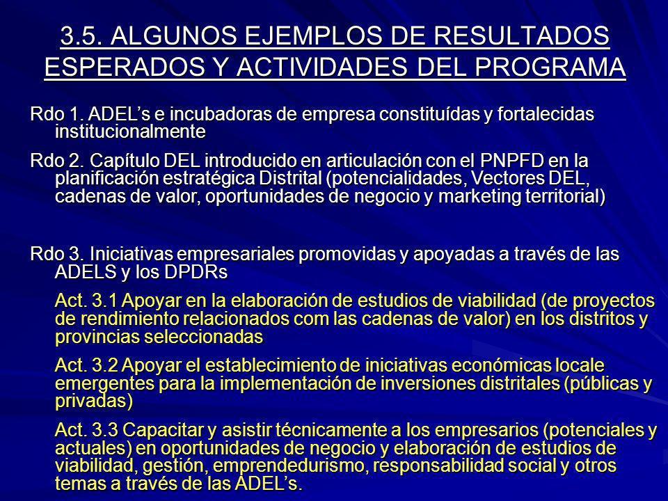 3.5. ALGUNOS EJEMPLOS DE RESULTADOS ESPERADOS Y ACTIVIDADES DEL PROGRAMA