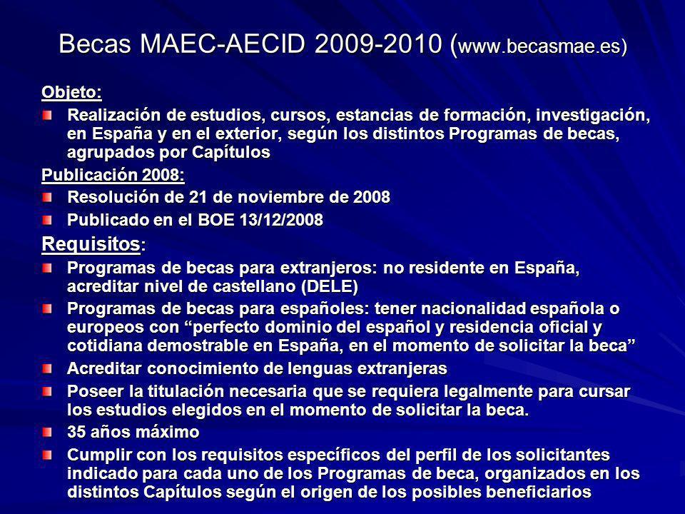Becas MAEC-AECID 2009-2010 (www.becasmae.es)