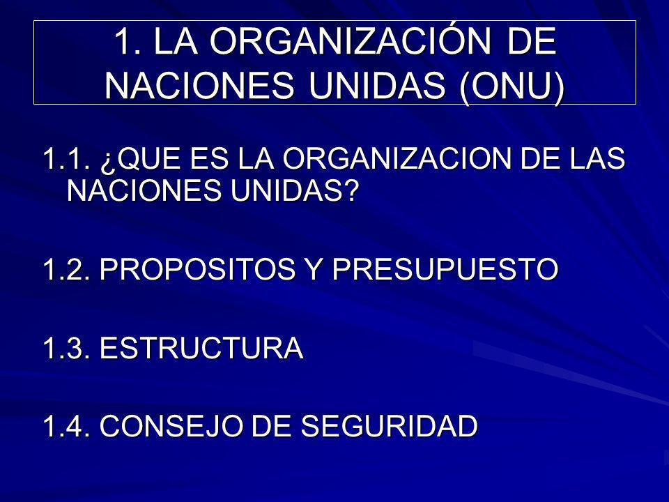 1. LA ORGANIZACIÓN DE NACIONES UNIDAS (ONU)