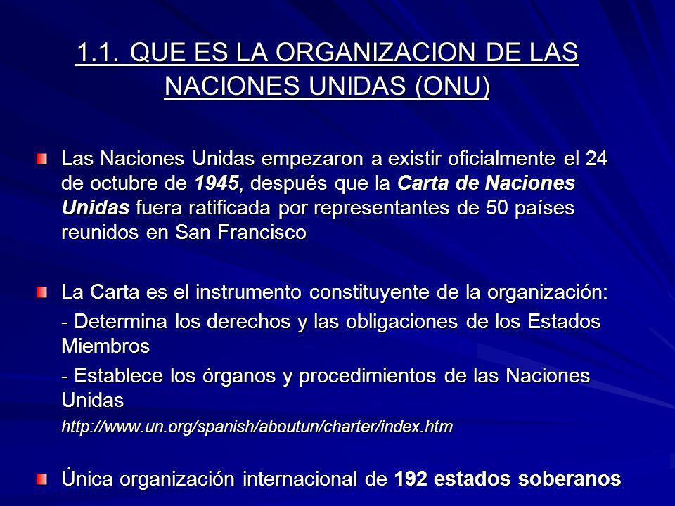 1.1. QUE ES LA ORGANIZACION DE LAS NACIONES UNIDAS (ONU)