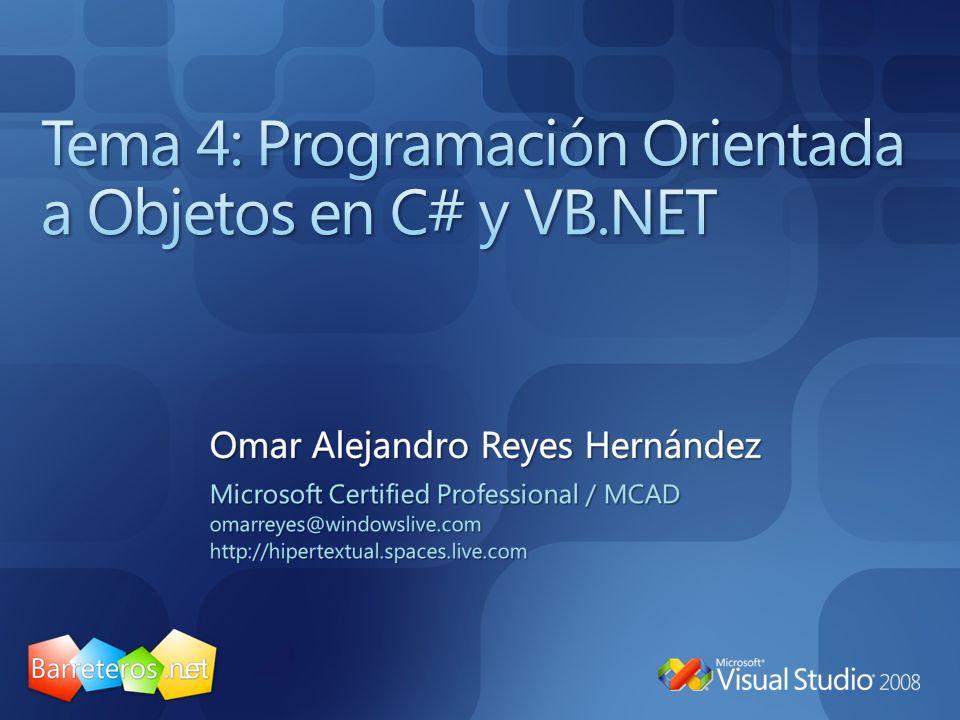 Tema 4: Programación Orientada a Objetos en C# y VB.NET