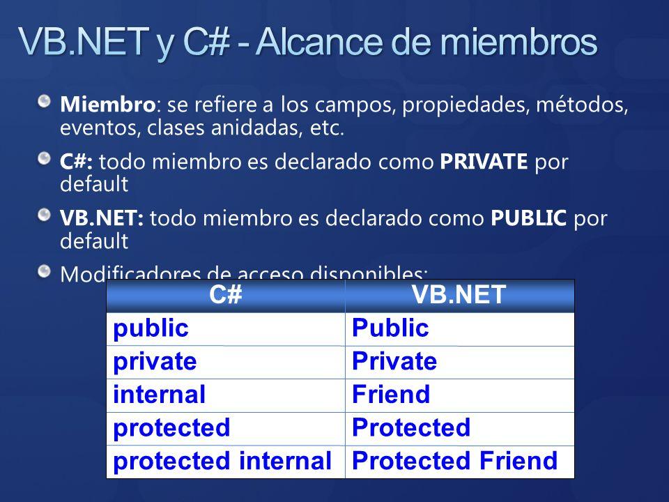 VB.NET y C# - Alcance de miembros