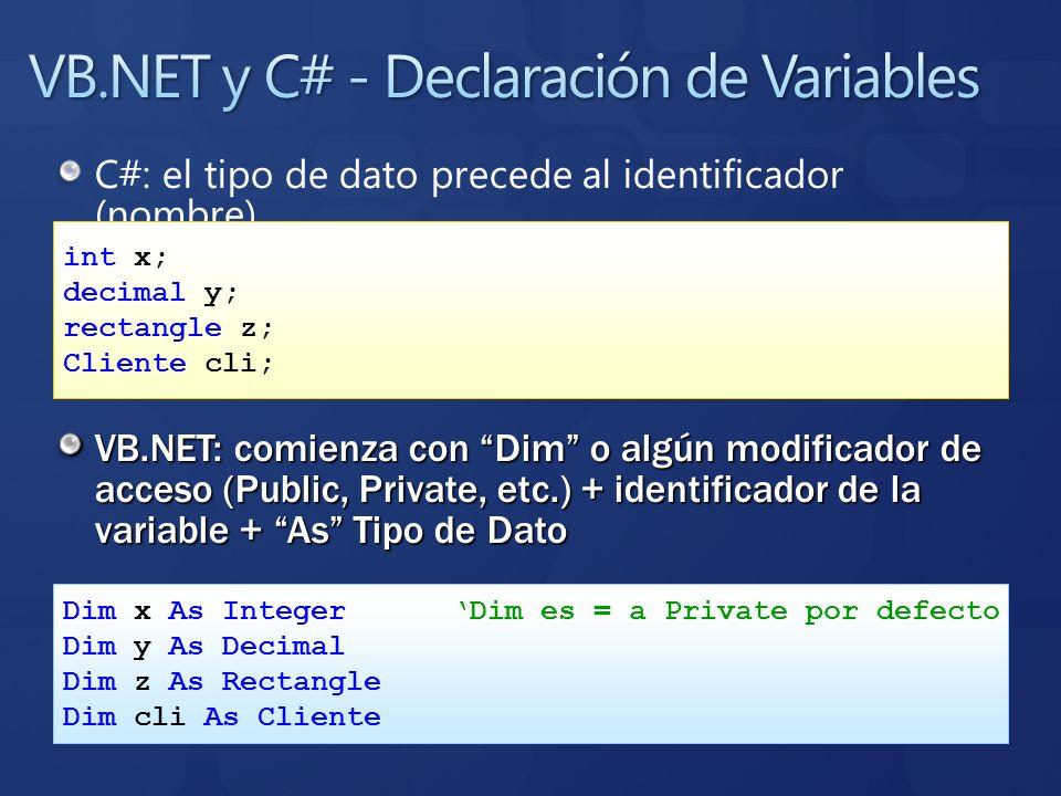 VB.NET y C# - Declaración de Variables