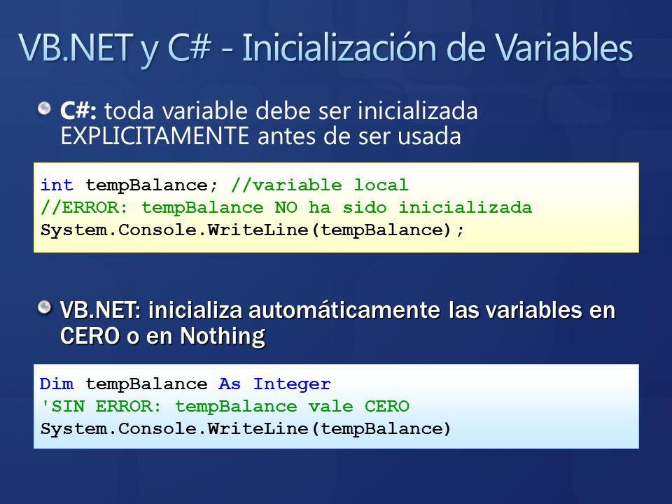 VB.NET y C# - Inicialización de Variables