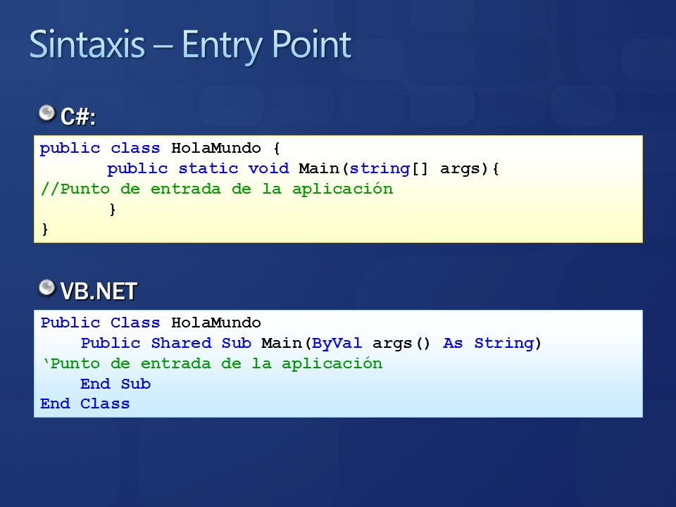 Sintaxis – Entry Point C#: VB.NET public class HolaMundo {