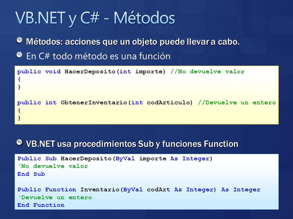 VB.NET y C# - MétodosMétodos: acciones que un objeto puede llevar a cabo. En C# todo método es una función.
